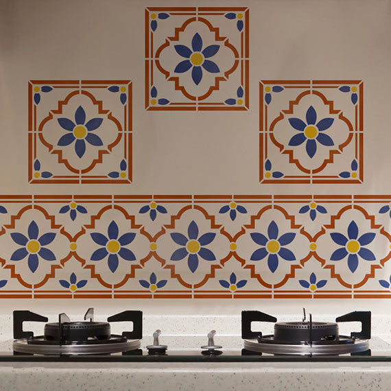DIY Kitchen Backsplash Design with Faux Tile Stencils - Indian Floral Tile Motif by Royal Design Studio Stencils