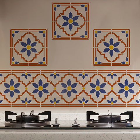 Faux Tile Stencils for Kitchen Backsplash Table Tops Tiled Floors