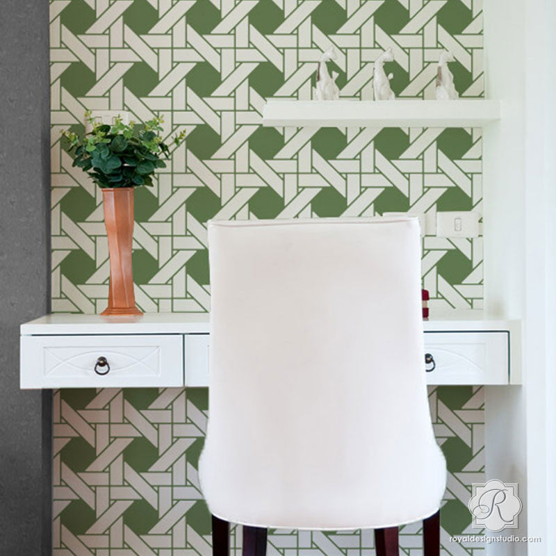 Colorful Woven Texture Wallpaper Look - Interwoven Basketweave Wall Stencils - Royal Design Studio