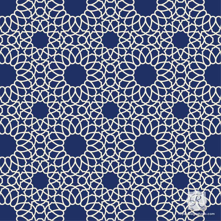 Intricate Zelij Moroccan Craft Stencil
