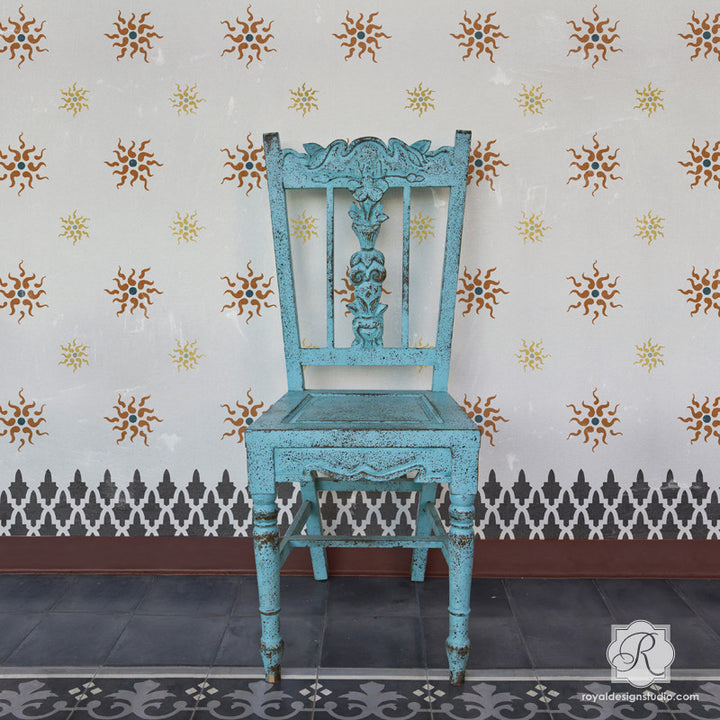 Classic European Wallpaper Look using Stars Wall Stencils - Royal Design Studio
