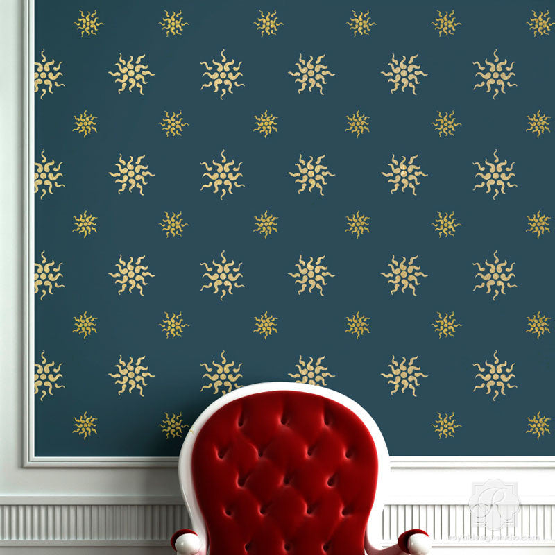 Traditional European Stars Wall Stencils For Painting Royal Design Studio Stencils