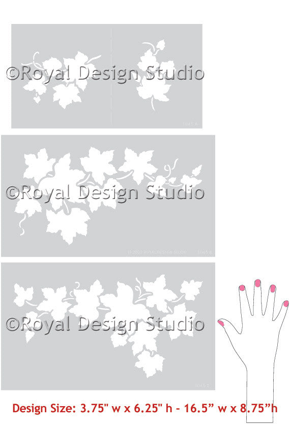 Stencils | Grape Ivy Vine Fruit Stencil - DIY Wall Mural Art
