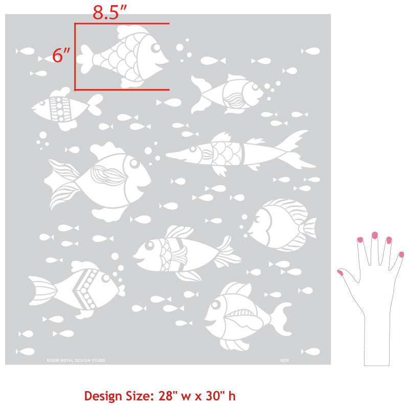 Custom Wall Art Fish Stencils for Painting Nursery Decor - Royal Design Studio