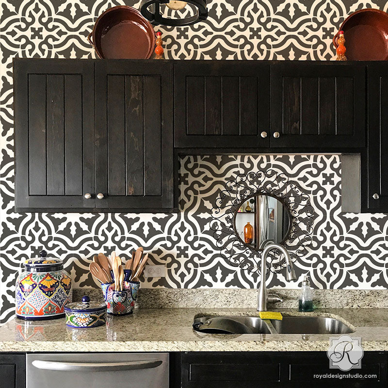 Custom Kitchen Backsplash Wall Stencils Classic Spanish Tile Stencils    Royal Design Studio