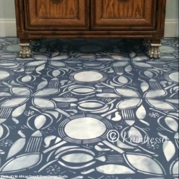 Painted Concrete Floor Stencils in Kitchen Makeover - Royal Design Studio