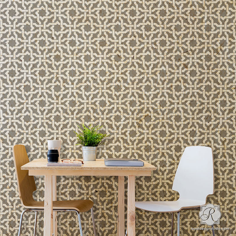 Painting Large Geometric Texture Designs On Dining Room Accent Wall   Woven  Star Moroccan Wall Stencils · Bohemian Home Decor ...