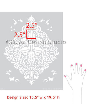Love Birds Lace Damask Christmas Stencils for Crafts and Fabric and Wall Art
