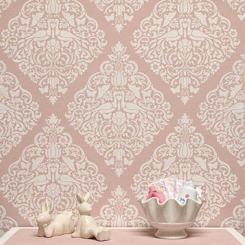 wall painting stencils love birds lace damask wall stencils from royal design studio - Design Stencils For Walls