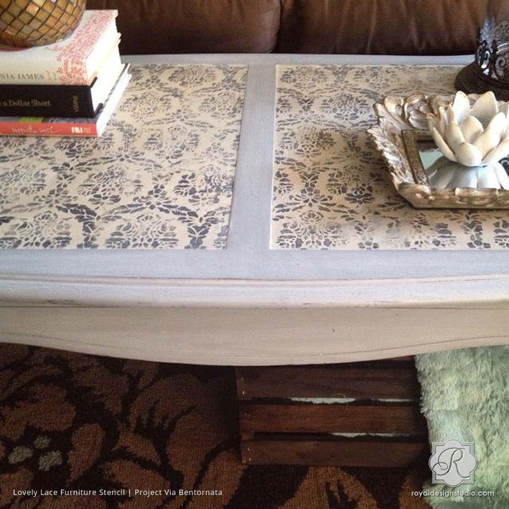 Decorating DIY Projects with Painted Pattern - Lovely Lace Furniture Stencils - Royal Design Studio