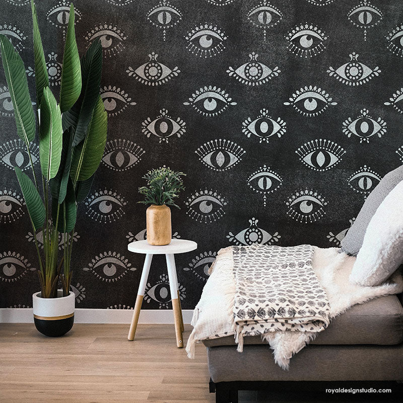 Protective Eyes Wall Stencil