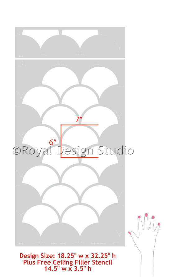 Large Moroccan Scallops Design - Royal Design Studio Wall Stencils