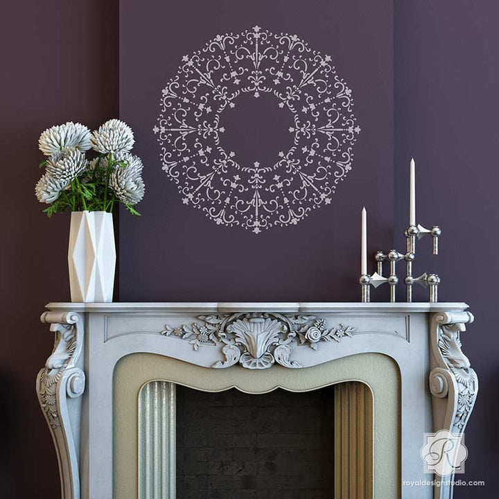 Painting Walls with Medallion Ceiling Stencils - DIY Classic Italian Design - Royal Design Studio