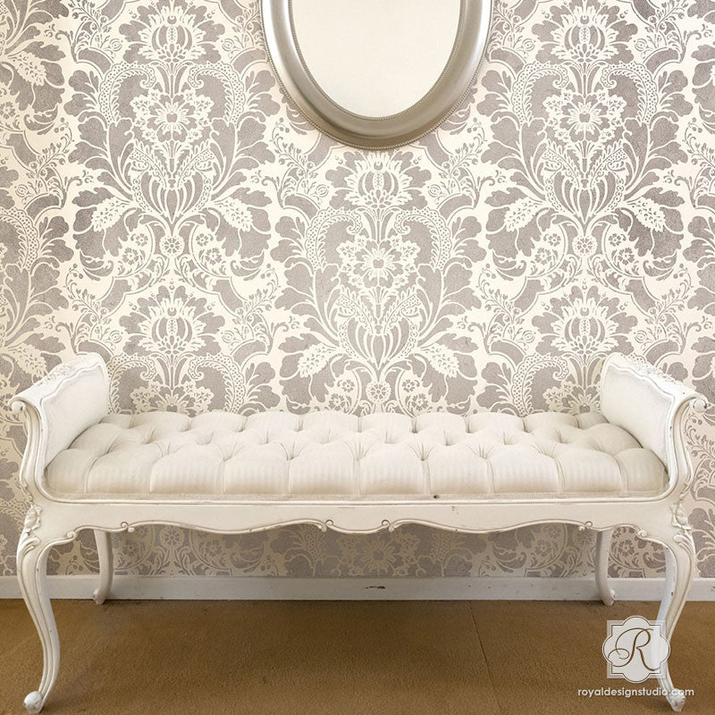 painting accent wall with classic victorian wallpaper look lisabetta damask wall stencils royal design - Bedroom Stencil Ideas