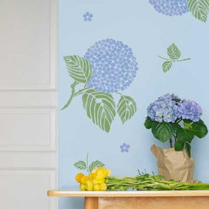 Japanese, Oriental, and Asian Hydrangea Flower Floral Wall Art Stencils - Cute Kids Room Nursery Decor - Royal Design Studio