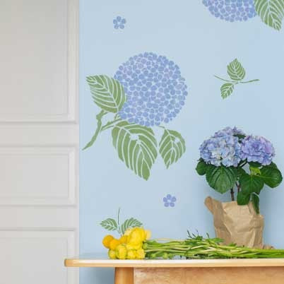 Japanese, Oriental, And Asian Hydrangea Flower Floral Wall Art Stencils    Cute Kids Room