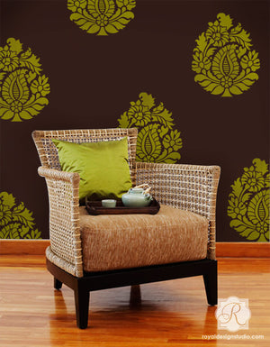 DIY Stenciling Projects with Indian Design Paisley Wall Art Stencil by Royal Design Studio Stencils