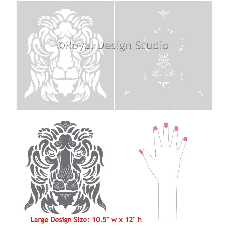 Pleasing Lion Wall Art Stencils Diy Classic Italian Design Royal Design Largest Home Design Picture Inspirations Pitcheantrous