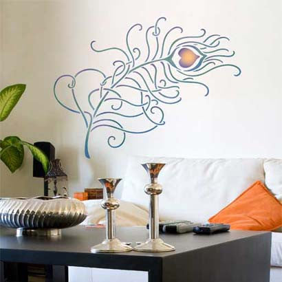 Trendy Stenciled Walls with Peacock Feather Wall Art - Royal Design Studio