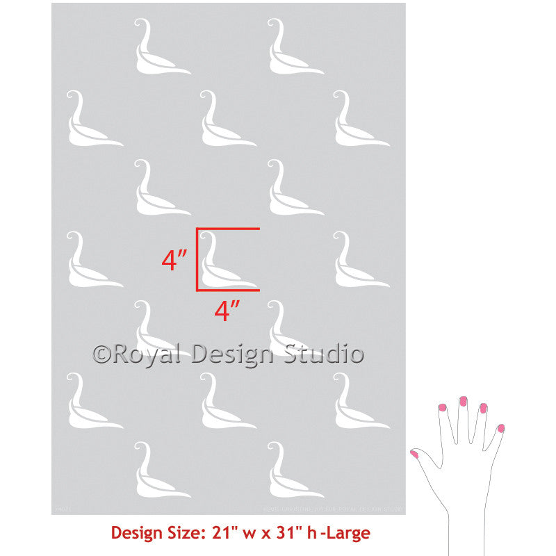 Designer Wallpaper Look with Painted Wall Stencils - Swan Design and BIrd Stencil - Royal Design Studio
