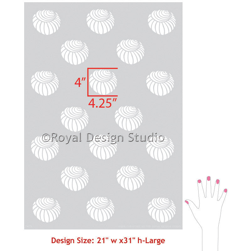 Shell Wallpaper - Trendy Wall Stencils for Nautical Home Decor - Royal Design Studio