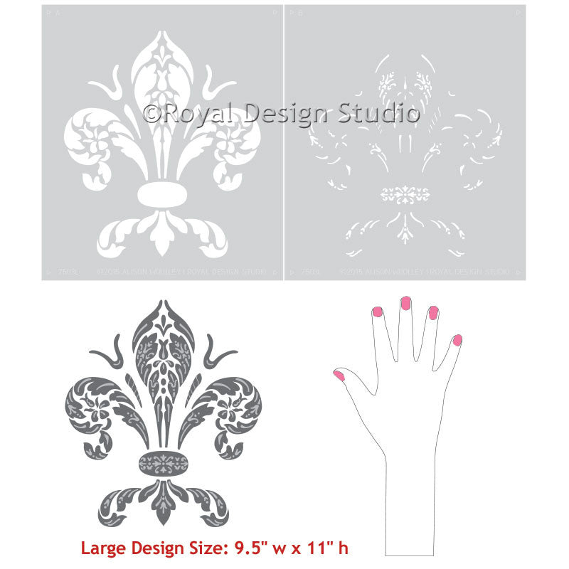 Wall Art Stencils classic fleur de lis wall art stencils - italian decor | royal