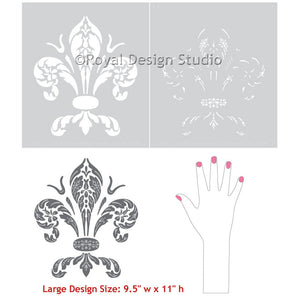 Large Wall Art Stencils - Paint Fleur de Lis Designs on Walls and Furniture - Royal Design Studio