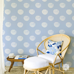 Beach Decor Wall Stencils - Shell Stencil for Painting Trendy Designer Wallpaper Look - Royal Design Studio