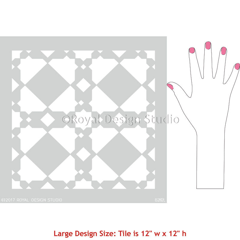 Large Stencils with Moroccan Pattern and Geometric Style - Royal Design Studio Decorating Project Idea