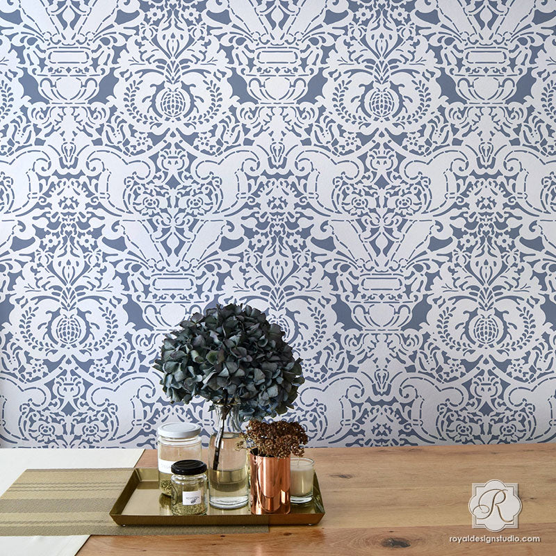 Large trellis wall stencil acanthus damask wall stencil for diy fortuny wall stencil sisterspd