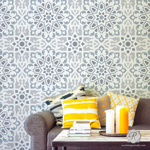 Modern Geoemtric Tile Designs - Zahara Moroccan Wall Stencils - Royal Design Studio