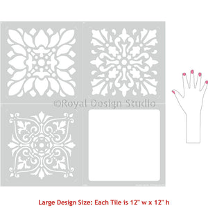 Large European Style Tiles for Floor Stencils and Painting - Royal Design Studio