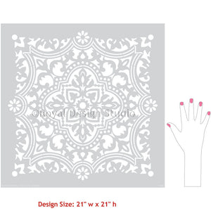 Large Spanish Moroccan European Tiles for Stenciling Designs - Royal Design Studio