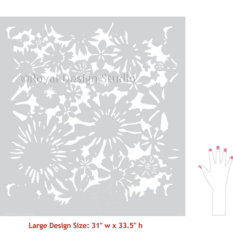 Large Painted Stenciled Accent Wall Stencils with Flower Designs - Royal Design Studio