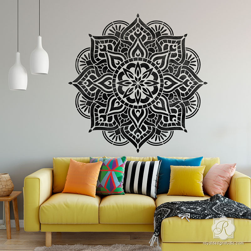 Modern Boho Living Room Wall Art Mandalas for Stenciling and Decorating - Royal Design Studio Stencils-Pro