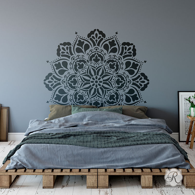 Painting Mandala Designs with Wall Art Stencils for Boho Bedroom Makeover - Royal Design Studio Stencils - G