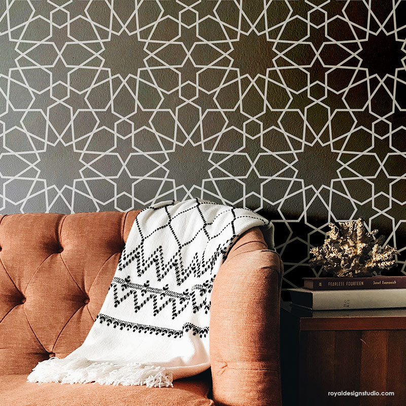 Moroccan stencils moroccan geometry stencil - Geometric wall designs with paint ...
