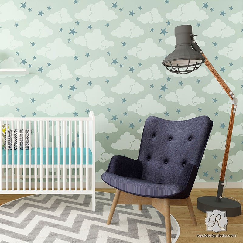 Painted Clouds and Stars in Cute Nursery - Modern Wall Stencils - Royal Design Studio