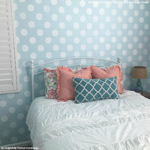 Polka Dot Painted Bedroom Makeover Wall Stencils For Decorating
