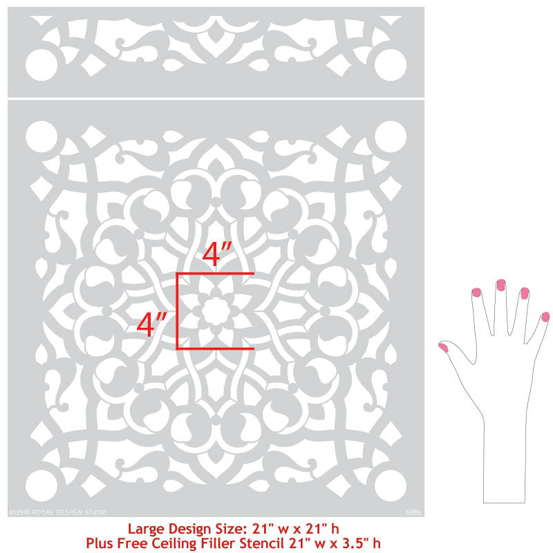 Large Painted Wall Mural DIY - Zahara Moroccan Wall Stencils - Royal Design Studio