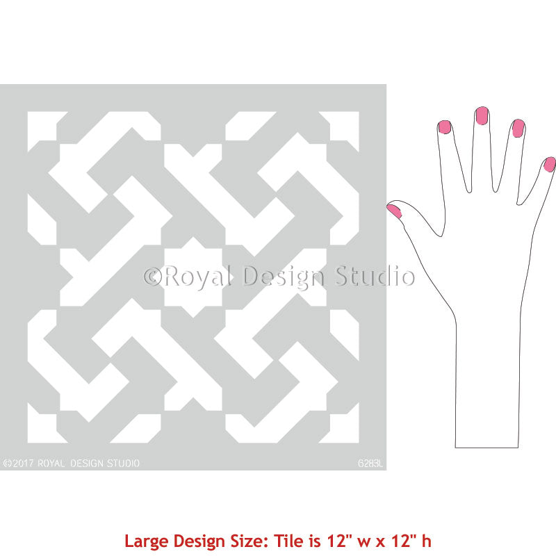 Large Tile Stencils for Modern Bohemian Floor Refinishing DIY Painting - Royal Design Studio