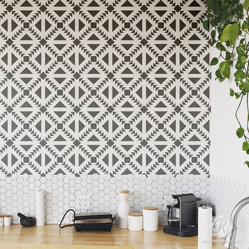 Black and White Kitchen Design and DIY Backsplash with Concrete Quilt Tile Stencils - Royal Design Studio
