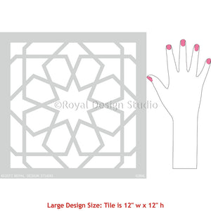 Geometric Patterns for Painting Moroccan Tiles Stencils on Floor or Wall Decor - Royal Design Studio
