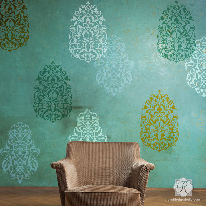 Painting Large Middle Eastern Turkish Moroccan Designs with Wall Art Stencils - Royal Design Studio