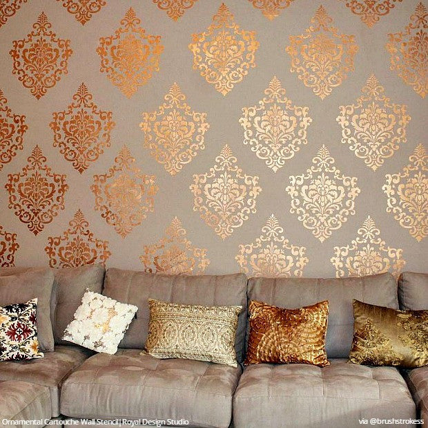 wall stencils for living room damask stencil pattern for diy wall painting ornamental 22071