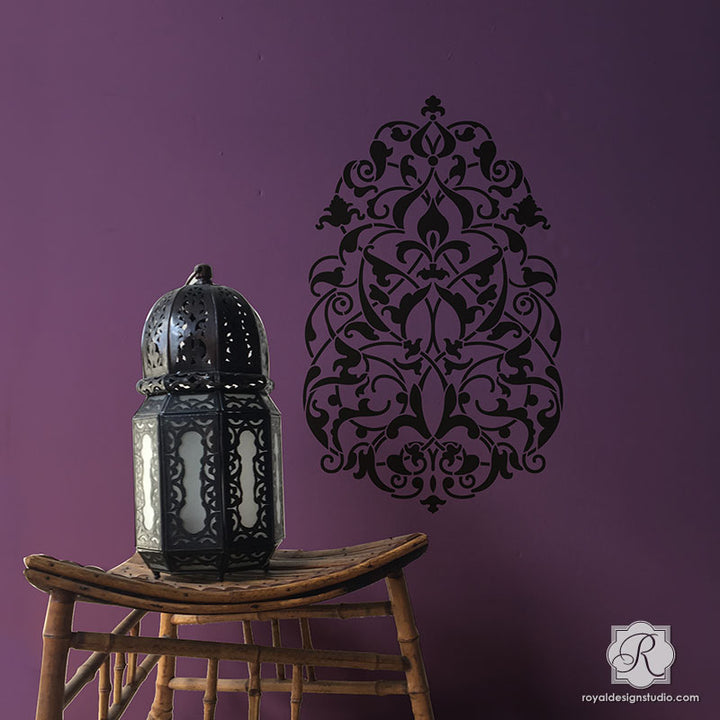 Turkish Boho Chic Decorating Idea with Large Wall Art Stencils - Royal Design Studio