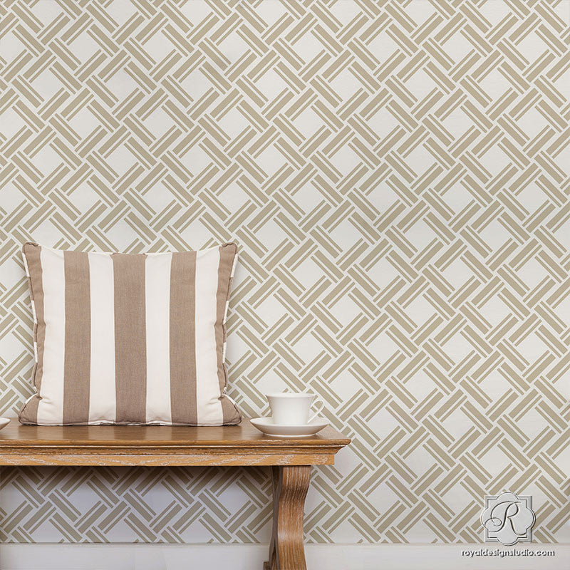 DIY Texture Wallpaper Effect using Large Wicker Weave Wall Stencils - Royal Design Studio