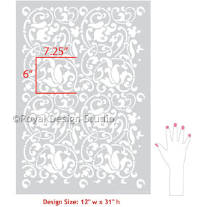 Easy DIY Decorating with Exotic Vine Wall Stencils with World Market Look - Jameela Vine Moroccan Wall Stencils - Royal Design Studio