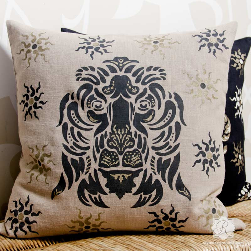 DIY Painted Pillow Project using Classic Lion Stencils for Italian Decor - Royal Design Studio