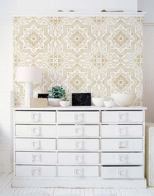 Allover Wall Stencil | Lisboa Tile Stencil | Royal Design Studio ...